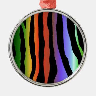 熱帯虹のシマウマは縞で飾ります メタルオーナメント
