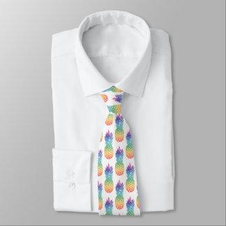 熱帯虹のパイナップルフルーツパターン首のタイ ネクタイ