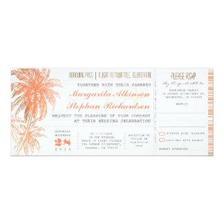 熱帯行先の結婚式のチケット カード