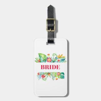 熱帯行先の結婚式の花嫁 ラゲッジタグ