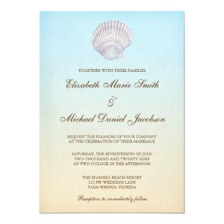 熱帯貝殻のビーチ結婚式 12.7 X 17.8 インビテーションカード