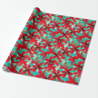 熱帯赤いハイビスカス ラッピングペーパー