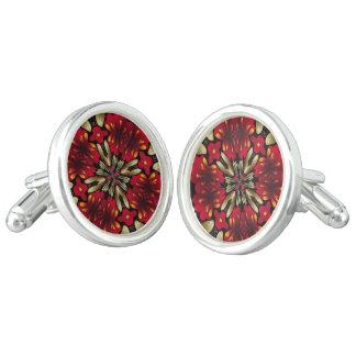 熱帯赤い曼荼羅の万華鏡のように千変万化するパターン カフリンク