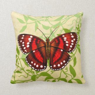 熱帯赤い蝶枕 クッション