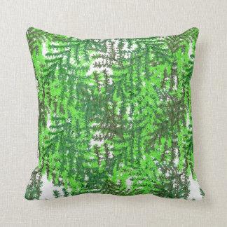 熱帯雨林の緑の白い組合せ クッション