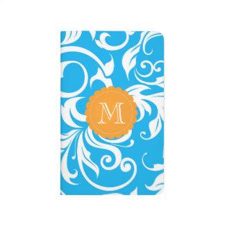 熱帯青いオレンジ花の渦巻のモノグラム ポケットジャーナル