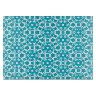 熱帯青い万華鏡のように千変万化するパターンのガラスまな板 カッティングボード