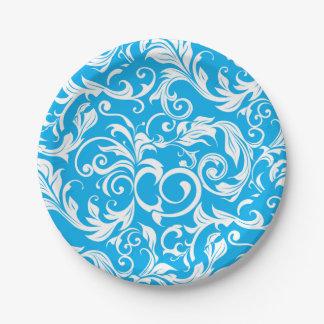 熱帯青い花模様の壁紙の渦巻パターン ペーパープレート