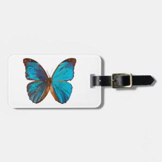 熱帯青およびターコイズの蝶芸術 ラゲッジタグ