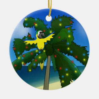 熱帯青および金ゴールドのコンゴウインコのクリスマスのオーナメント セラミックオーナメント