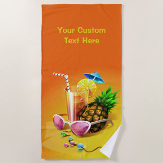 熱帯飲み物のカスタムな文字のビーチタオル ビーチタオル