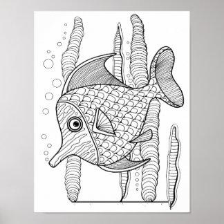 熱帯魚のカード・ストック大人の着色のページ ポスター