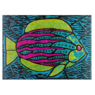 熱帯魚のガラスまな板 カッティングボード