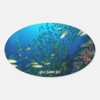 熱帯魚のグレート・バリア・リーフの珊瑚海 楕円形シール