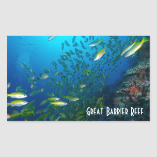 熱帯魚のグレート・バリア・リーフの珊瑚海 長方形シール