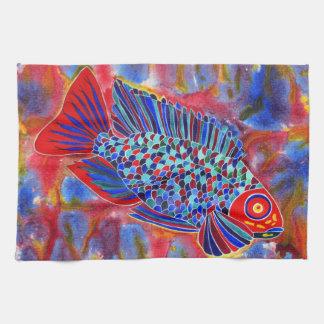 熱帯魚のデザインの台所か手タオル キッチンタオル