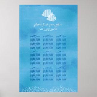 熱帯魚のビーチ結婚式夕食の座席の図表 ポスター