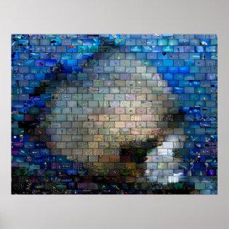 熱帯魚のモザイクポスター プリント