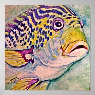 熱帯魚の水彩画 ポスター