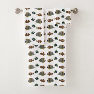 熱帯魚の逆上の浴室タオルセット バスタオルセット