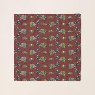 熱帯魚の逆上の軽くて柔らかいスカーフ(バーガンディ) スカーフ