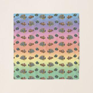 熱帯魚の逆上の軽くて柔らかいスカーフ(虹) スカーフ