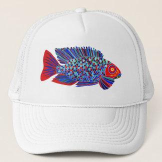 熱帯魚は白いトラック運転手の帽子を設計します キャップ