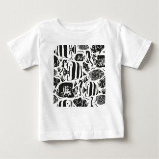 熱帯魚飼育用の水槽のイラストレーションの黒 ベビーTシャツ