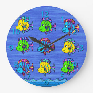 熱帯魚1つの円形の柱時計 ラージ壁時計