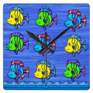 熱帯魚1つの正方形の柱時計 スクエア壁時計