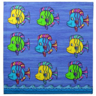 熱帯魚1の布のナプキン(4)の置いて下さい ナプキンクロス