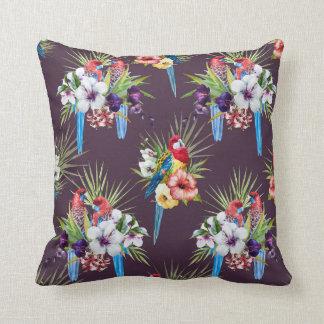熱帯鳥の枕(黒) クッション