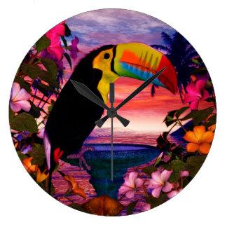 """熱帯鳥2"""" Toucans""""の装飾 ラージ壁時計"""