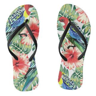 熱帯鳥、花およびシュロの葉 ビーチサンダル