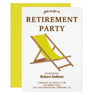 熱帯黄色いビーチチェアの退職パーティー カード