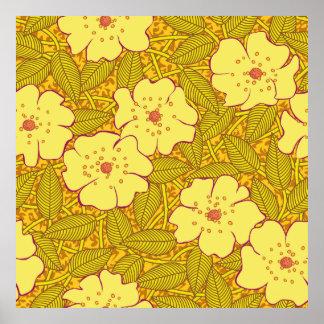 熱帯黄色い花模様 ポスター