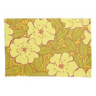 熱帯黄色い花模様 枕カバー