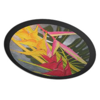 熱帯Blossumsのアクリルの絵画のプレート パーティープレート