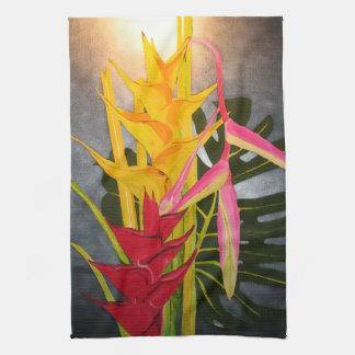 熱帯Blossumsのアクリルの絵画の台所タオル ハンドタオル