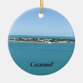 熱帯Cozumelの島の青海原 セラミックオーナメント