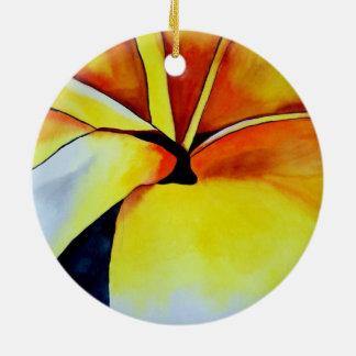 熱帯Frangipaniの花の水彩画の抽象美術 セラミックオーナメント