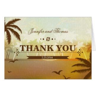 熱帯Orangの景色のビーチ結婚式のサンキューカード カード