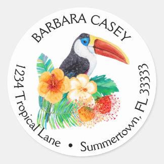 熱帯Toucanの水彩画の差出人住所ラベル ラウンドシール