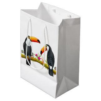 熱帯Toucanの鳥のギフトバッグ媒体 ミディアムペーパーバッグ