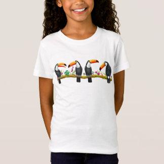 熱帯Toucanの鳥の子供のジャージーのニットのTシャツ Tシャツ