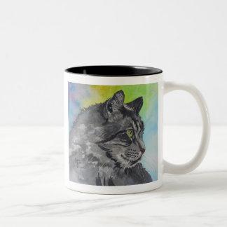熱心な虎猫 ツートーンマグカップ