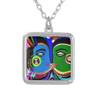 熱情的なキス-ヴィンテージのインドの洞窟の芸術のスタイル シルバープレートネックレス