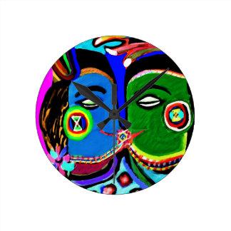 熱情的なキス-ヴィンテージのインドの洞窟の芸術のスタイル ラウンド壁時計