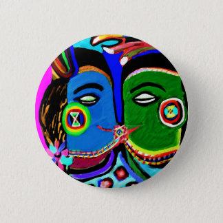 熱情的なキス-ヴィンテージのインドの洞窟の芸術のスタイル 缶バッジ
