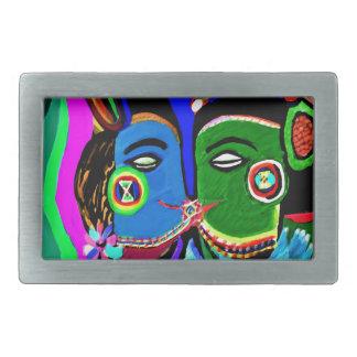 熱情的なキス-ヴィンテージのインドの洞窟の芸術のスタイル 長方形ベルトバックル